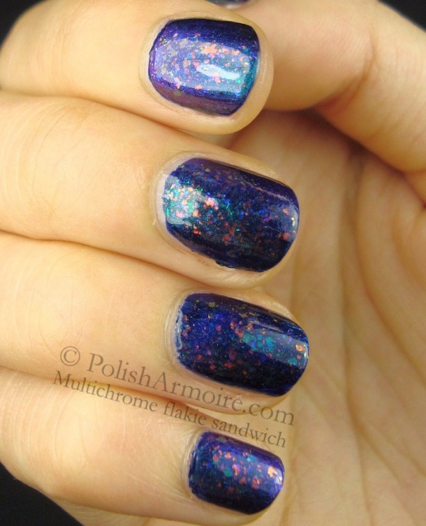 Multichrome flakie jelly sandwich featuring Cult Nails Seduction, Nfu Oh 52, and Hits Cutie Pie