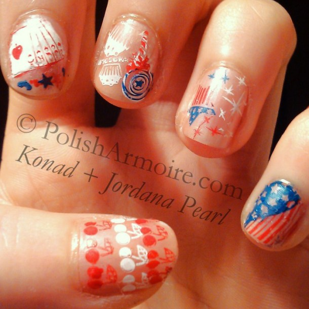 Konad stamping over Jordana Pearl using plates m14, m45 and m48.