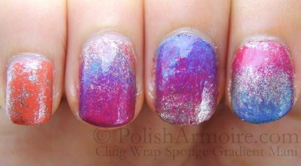 Cling Wrap Sponge Orange Gold Blue Pink Gradient Mani