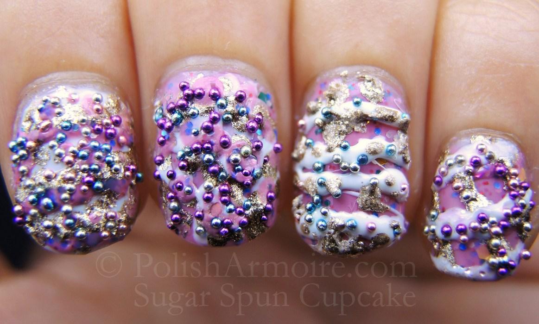 Spun Sugar Cupcake Mani Nail Art With Candy Sprinkles By La Colors