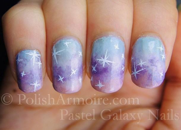 Pastel Galaxy Nails with Konad m14 stars