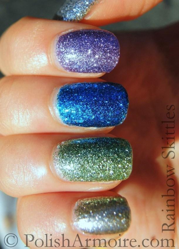 Rainbow skittle bling glitter mani