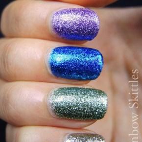 Rainbow Skittle Glitter Nails –BLING!