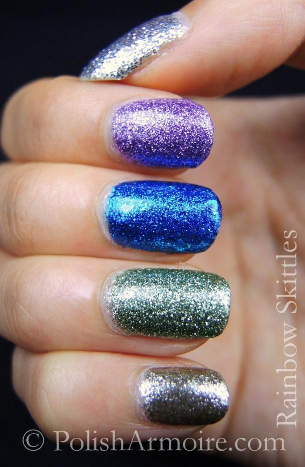 Rainbow skittle glitter mani