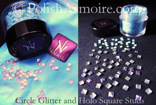 Blue Circle Glitter Purple Holo Square Studs KKCentreHK