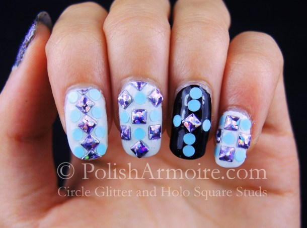 Purple Square Holo Studs Blue Circle Glitter Nails KKCentreHK