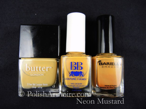 Mustard Nail Polish Butter London Bumster BB Couture Stick Shift Barielle Aura Angora