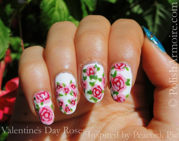 Valentine Rose Nail Art