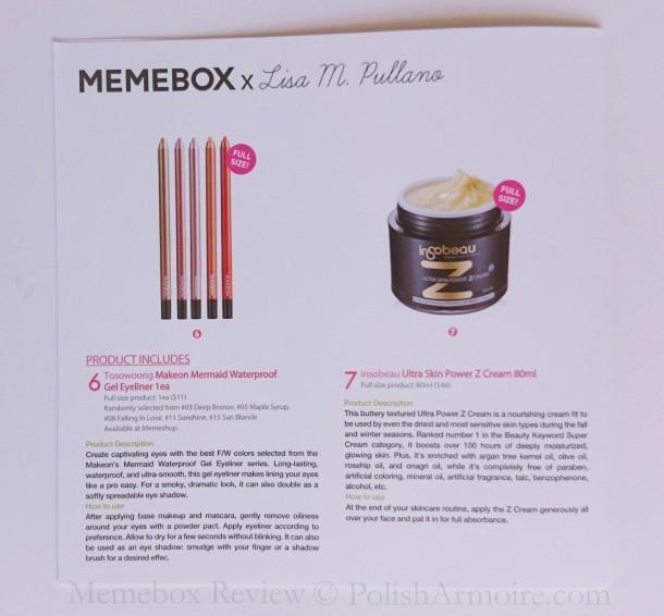 Memebox Lisa Pullano Info Card Back